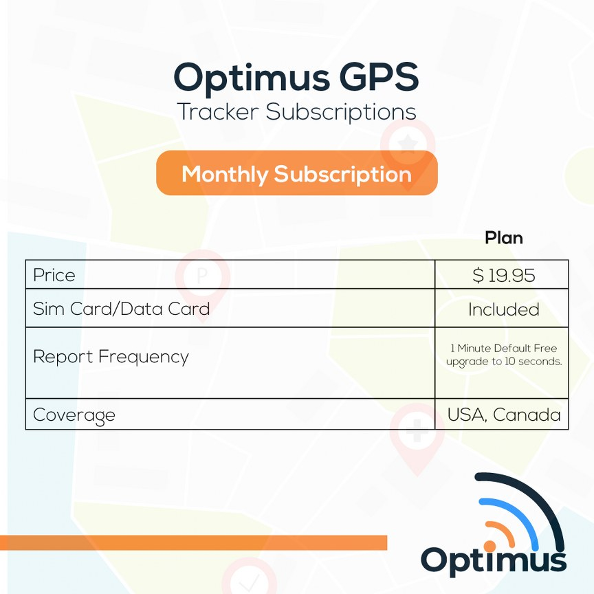 Optimus 2.0 Tracker Monthly Subscription